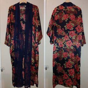 Vintage Victoria's Secret Robe Large Navy Floral